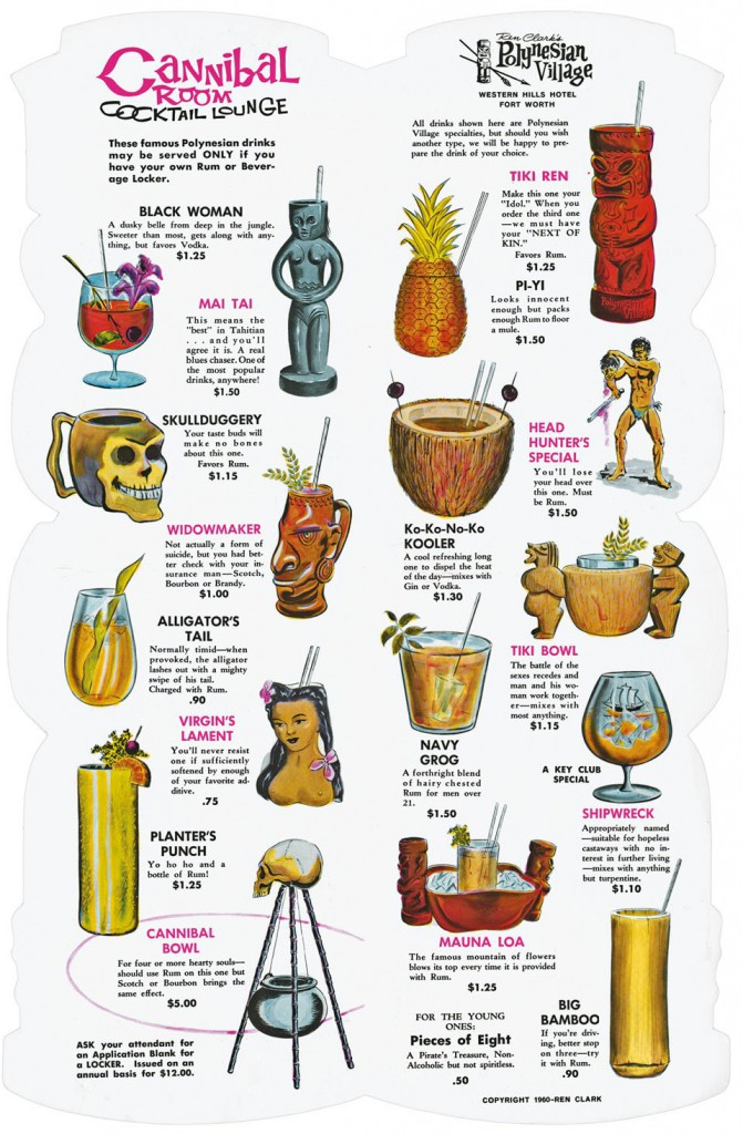 This cocktail menu from Ren Clark's Polynesian Village, circa 1962, shows the variety of decorative mugs used at Tiki bars.