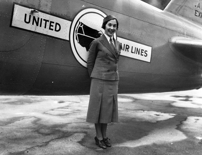 A United Air Lines flight attendant and nurse in the mid-1930s. (Via Museum of Flight)