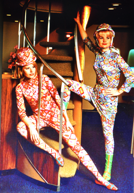 In 1966, Emilio Pucci designed psychedelic catsuits for Braniff flight attendants. (Via Museum of Flight)