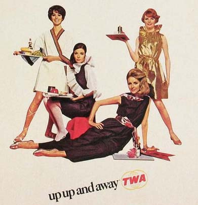 A TWA ad from 1968 shows flight attendants in their cuisine-themed paper uniforms.
