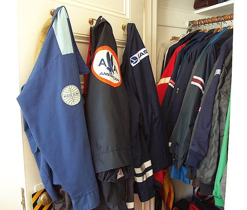 Todd Lappin's airline ramp jacket collection filled up a closet in his San Francisco home. (Photo by Todd Lappin, via his telstar Flickr page.)