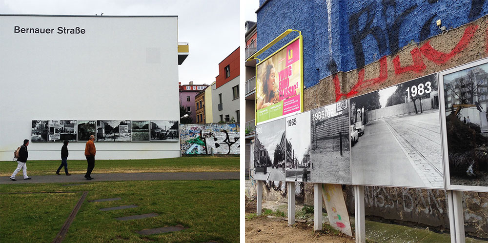 Left, tourists wander through the Wall Memorial on Bernauer Strasse, where neighbors in East and West Berlin were divided beginning in 1961. Historic images of the intersection at Brunnenstrasse are mounted in the memorial's unfinished lots.