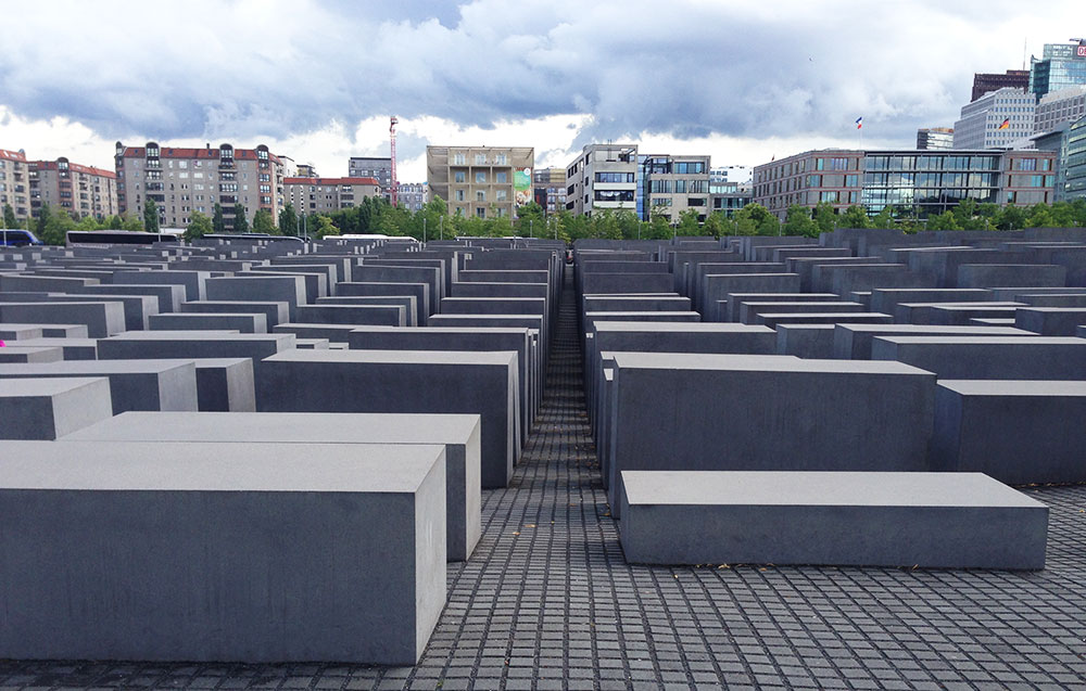 A view of the central Memorial for the Murdered Jews of Europe, where guests must visit the information center for an explanation of the tragedy.