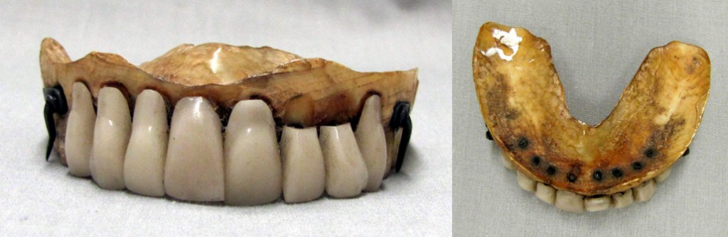 "An upper set of dentures made from human teeth set into a carved ivory base, circa 1850-1870. Via Canada's <a href=""http://museumofhealthcare.wordpress.com/2012/02/03/collections-corner-waterloo-teeth/"">Museum of Healthcare</a>."