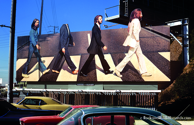 "In 1969, a teenager stole Paul McCartney's head from this ""Abbey Road"" billboard, fueling rumors of the singer's death. Photo by Robert Landau."