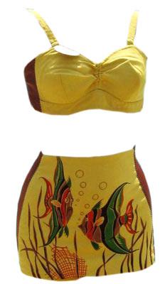 d60ad679c9b Vintage 40s Catalina 'Hawaiian Fish' California Hand Print Two Piece  Swimsuit