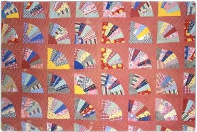 Antique 19th Century 1800/'s Brown Cotton Fabric Strip Quilt//Doll//Crafts